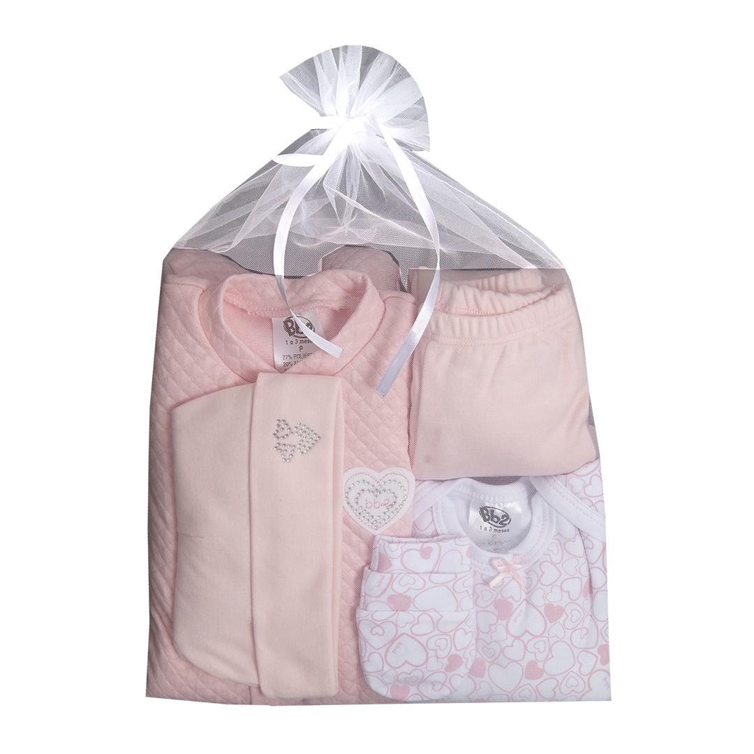 Kit Saída de Maternidade com 5 Peças Menina Coração Rosa