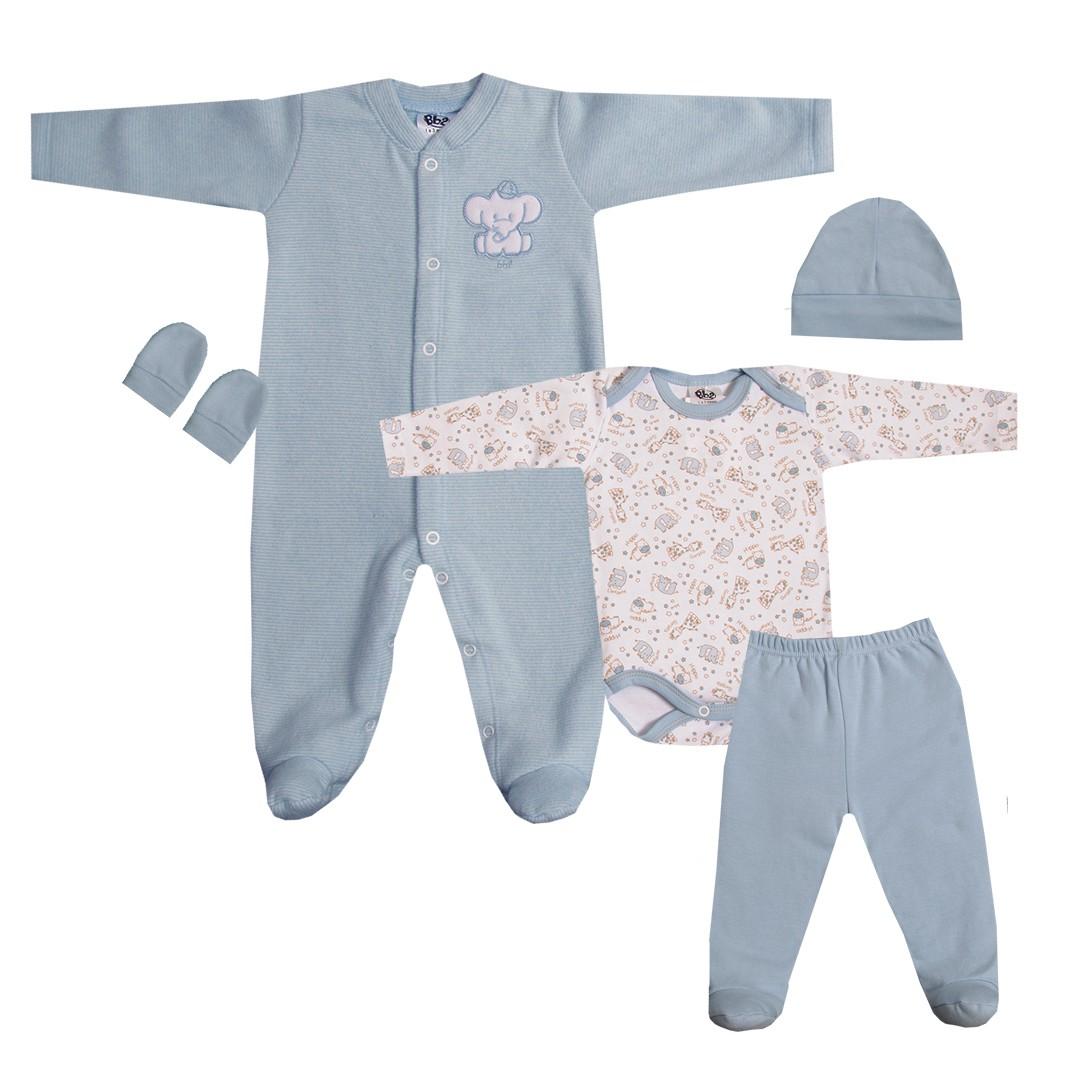 Kit Saída de Maternidade com 5 Peças Menino Elefantinho Azul Claro