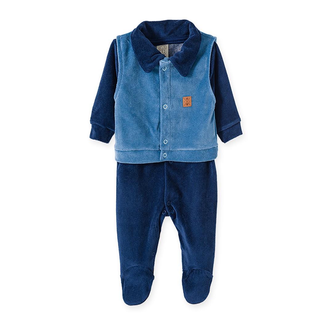 Macacão Bebê em Plush Menino Azul e Azul Marinho