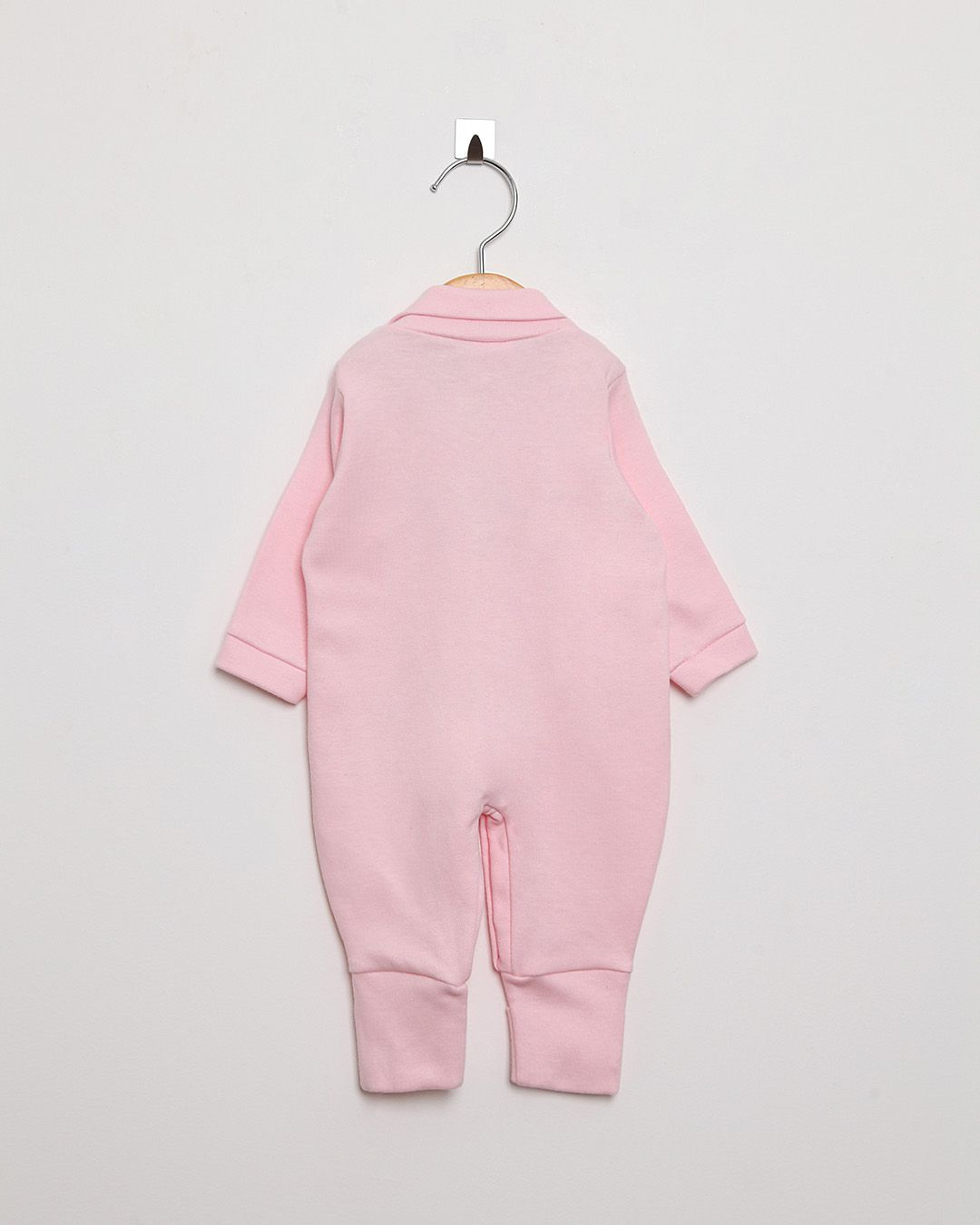 Macacão Bebê Manga Longa Menina Pé Reversível Rosa Bebê