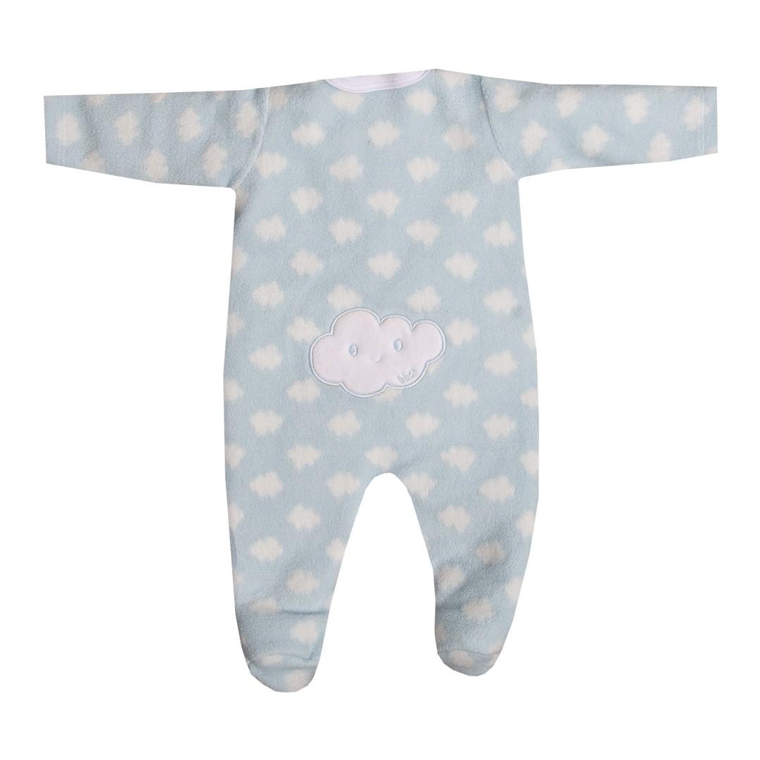 Macacão Bebê Menino em Unifloc Nuvens Bordado Azul Claro
