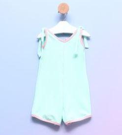 Macaquinho Bebê Alcinha Malha Canelada Azul Céu