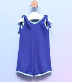 Macaquinho Bebê Alcinha Malha Canelada Azul Royal