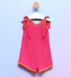 Macaquinho Bebê Alcinha Malha Canelada Pink