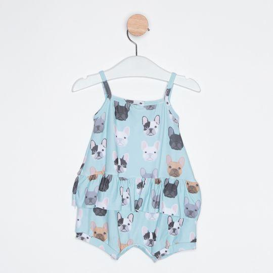 Macaquinho Bebê Cachorrinhos Azul Claro