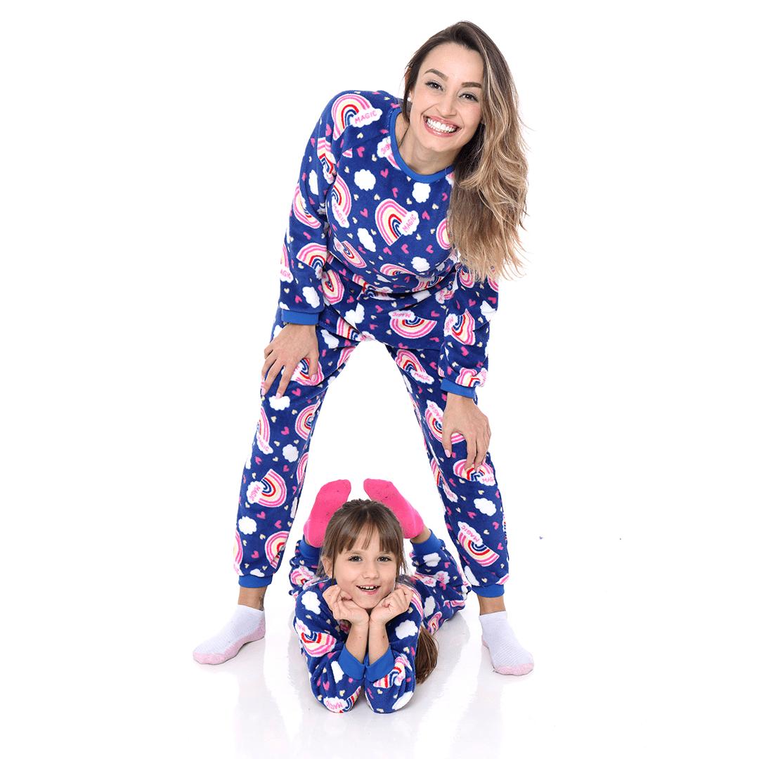 Pijama Mãe e Filha Adulto Soft Fleece Arco-íris Azul Royal