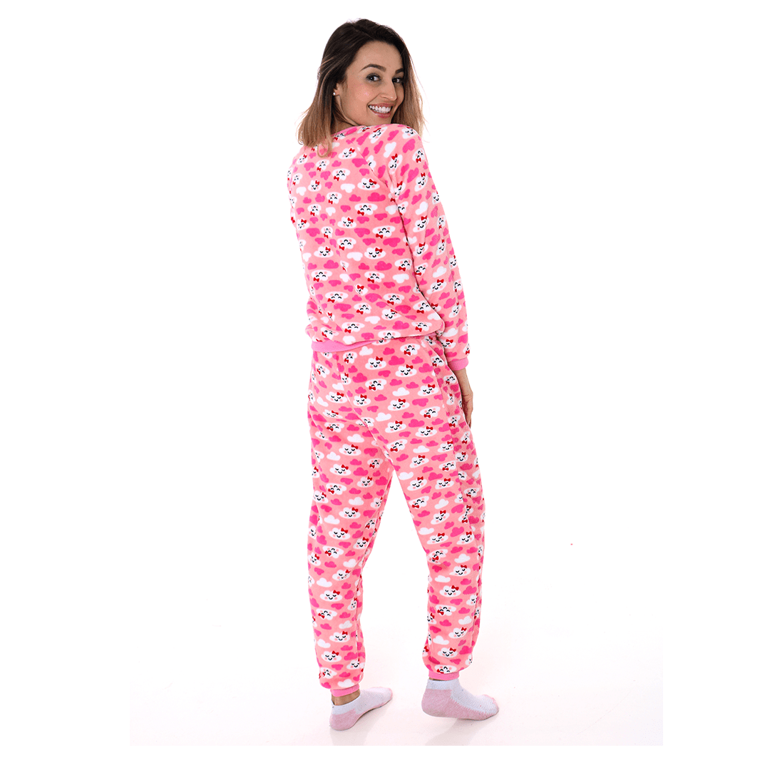 Pijama Mãe e Filha Adulto Soft Fleece Nuvens Rosa