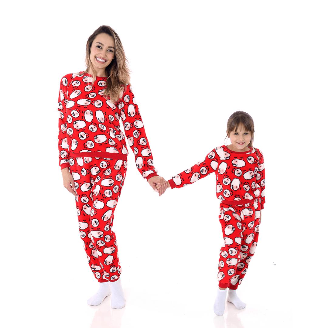 Pijama Mãe e Filha Adulto Soft Fleece Ovelhinha Vermelho