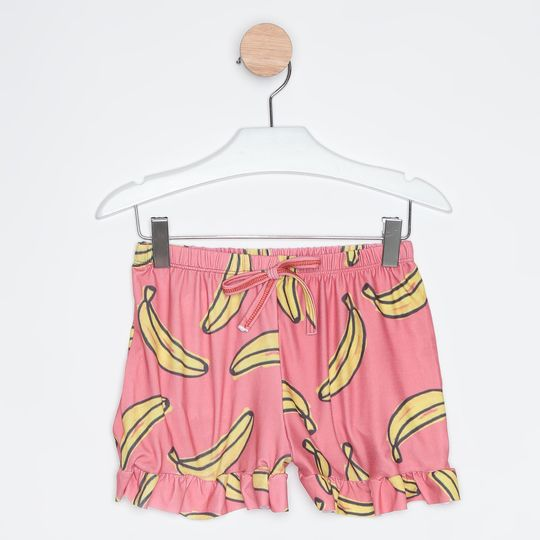 Pijama Curto Infantil Short Doll Bananas Rosa