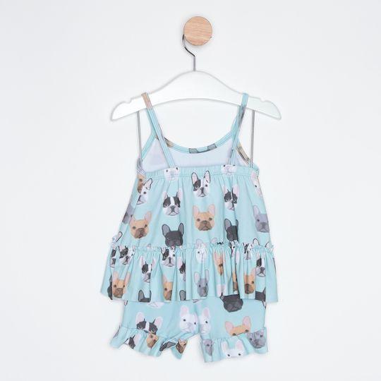Pijama Curto Infantil Short Doll Cachorrinhos Azul Claro