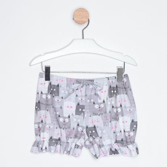 Pijama Curto Infantil Short Doll Gatinhos Cinza