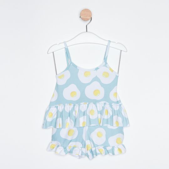 Pijama Curto Infantil Short Doll Ovo Frito Azul Claro