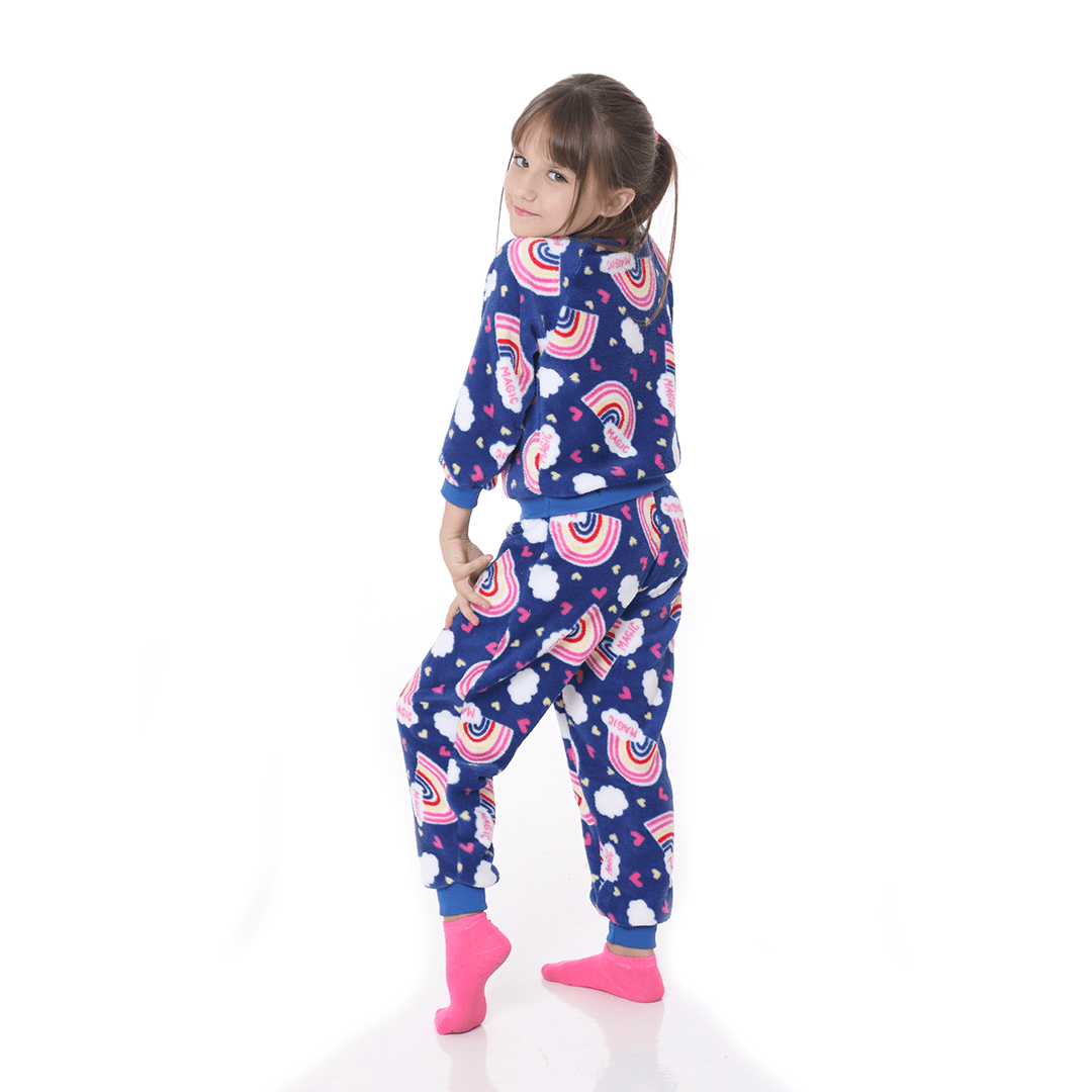 Pijama Mãe e Filha Infantil Soft Fleece Arco-íris Azul