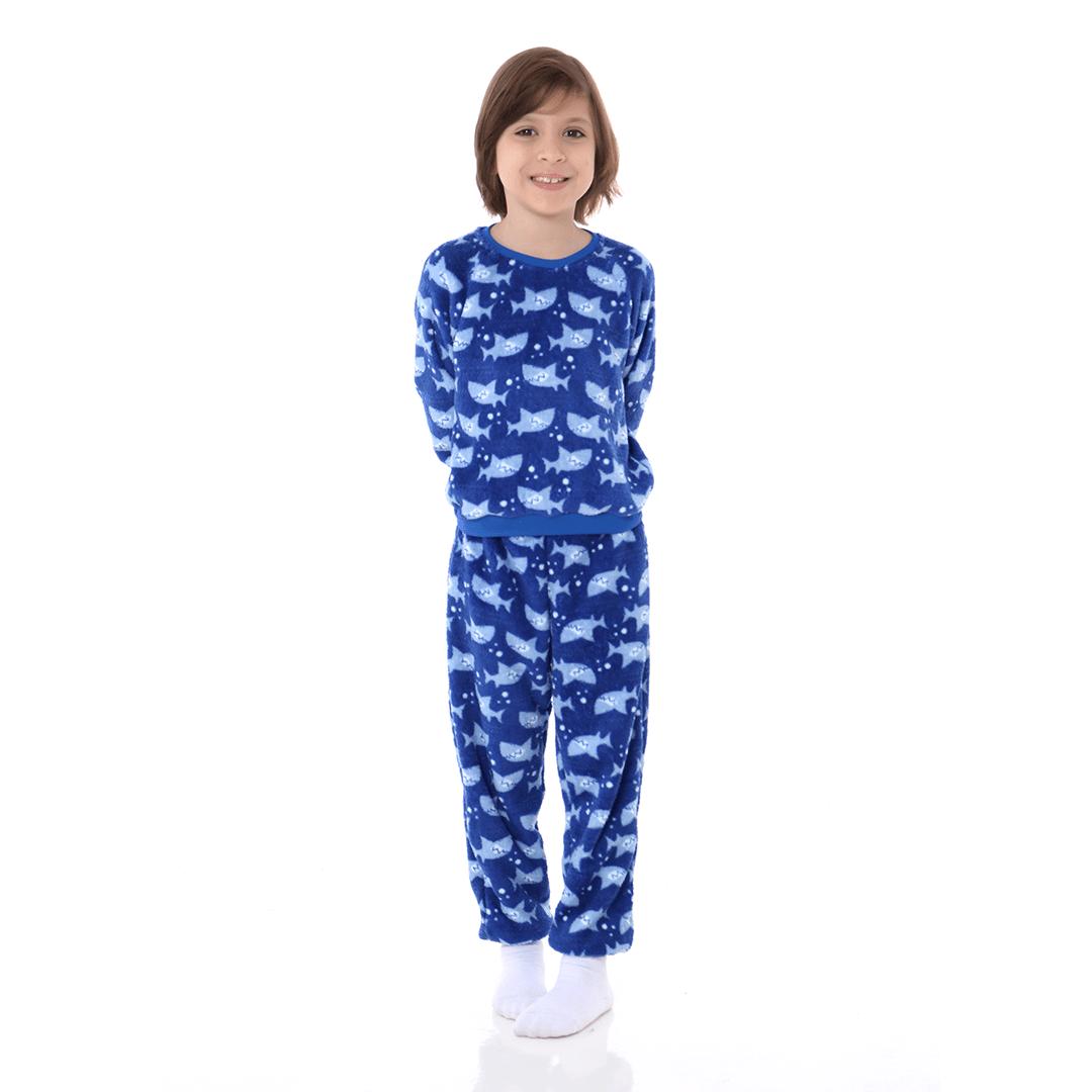 Pijama Infantil em Soft Fleece Tubarão Azul Royal