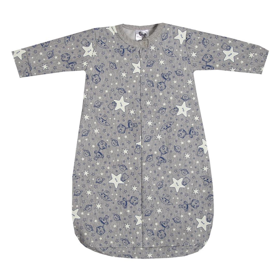 Saco de Dormir para Bebê Menino em Moletom Espacial Cinza Mescla e Marinho