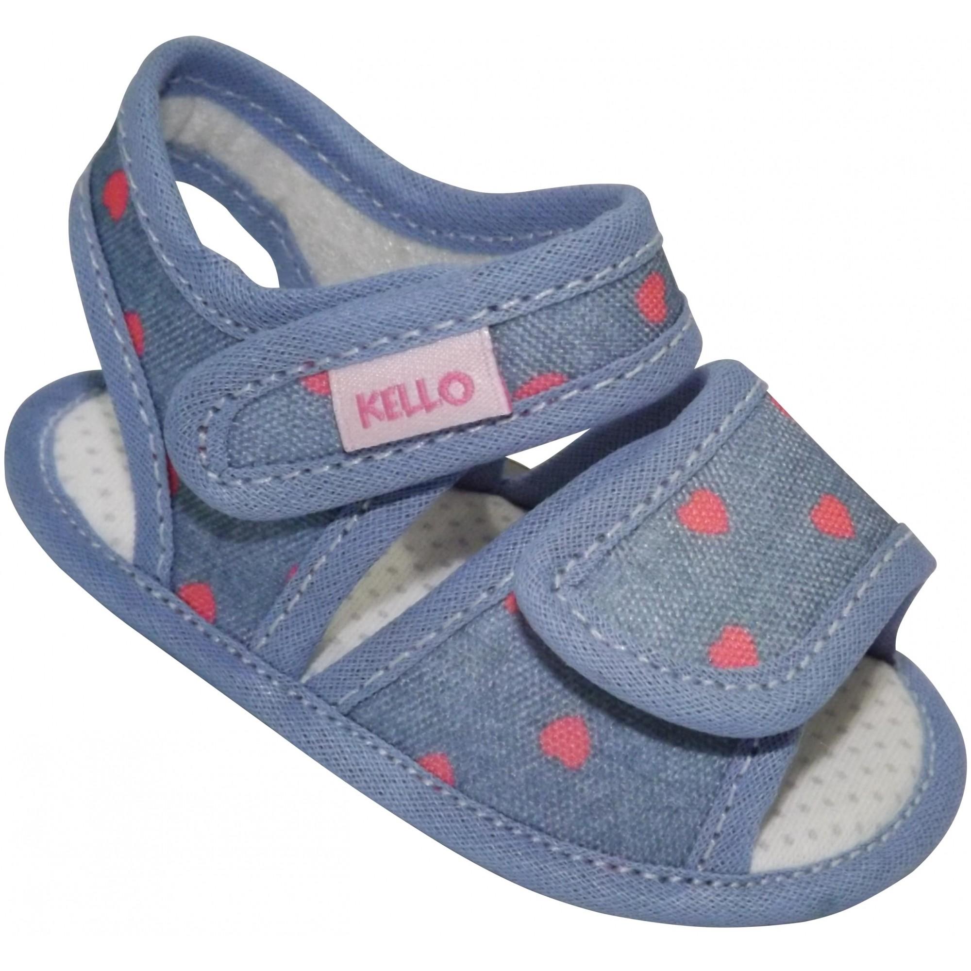 Sandália Infantil Menina Corações com Duplo Velcro Azul Escuro