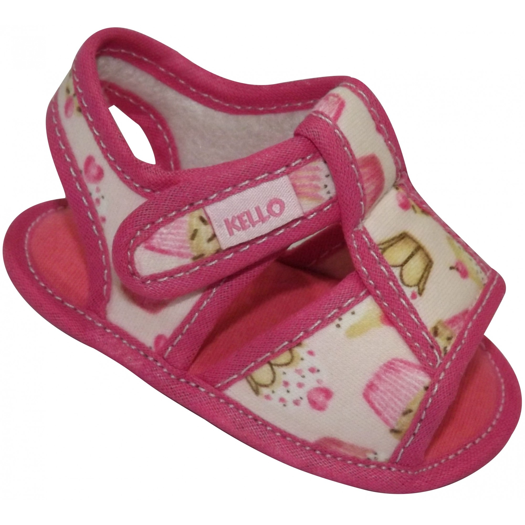 Sandália Infantil Menina Cupcake com Velcro Rosa