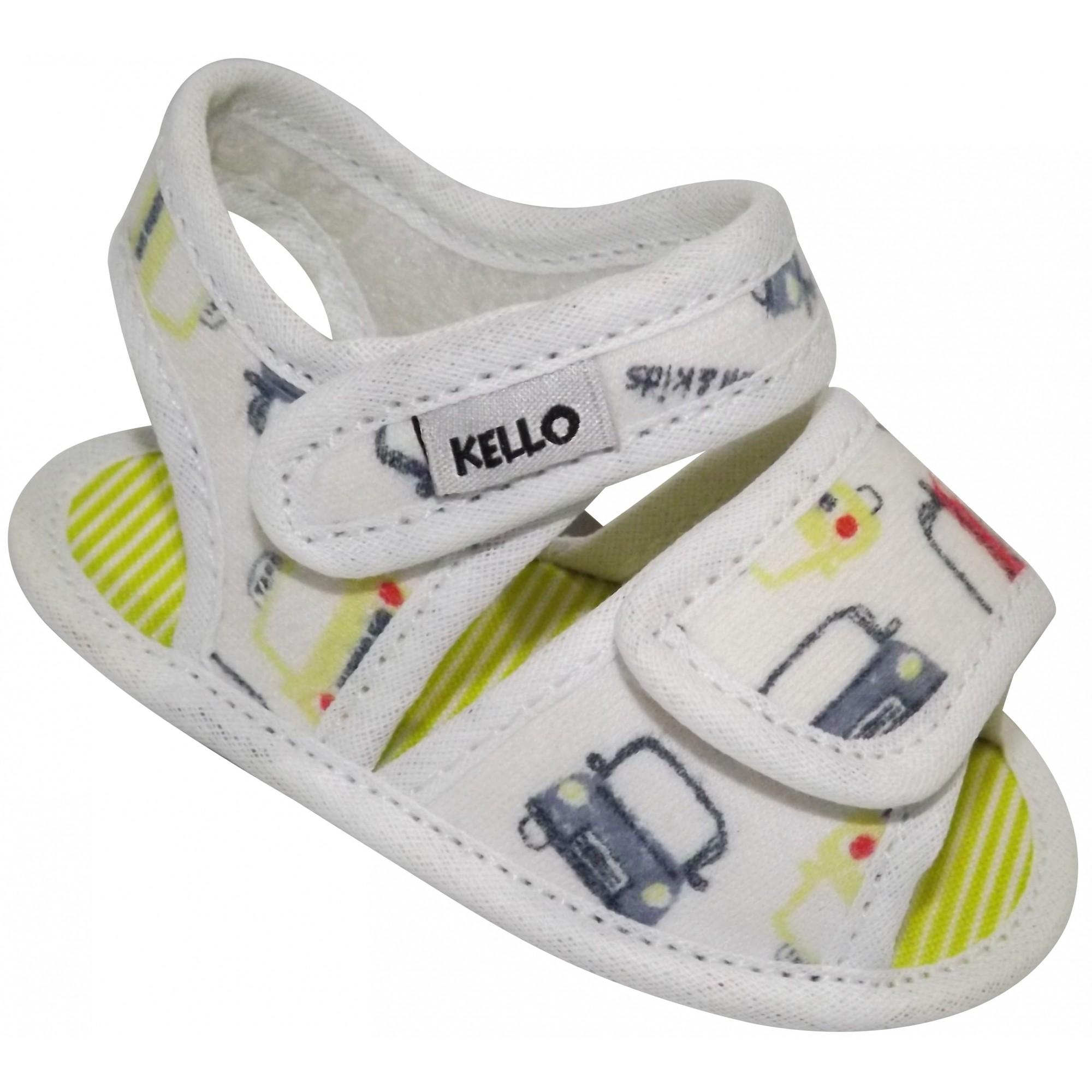 Sandália Papete Infantil Carrinhos Menino com Duplo Velcro Off White