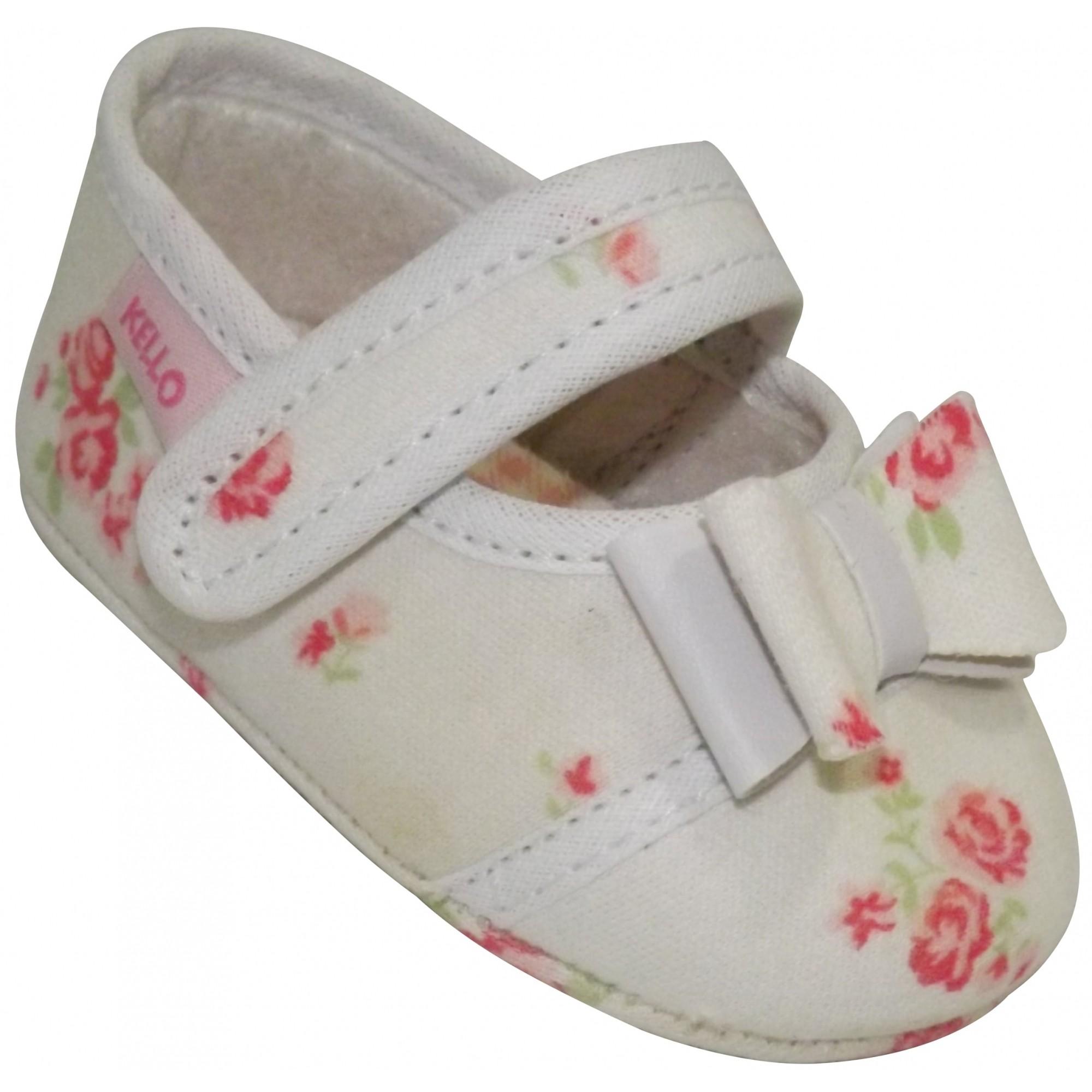 Sapatilha Infantil Floral Menina com Laço e Velcro Off White