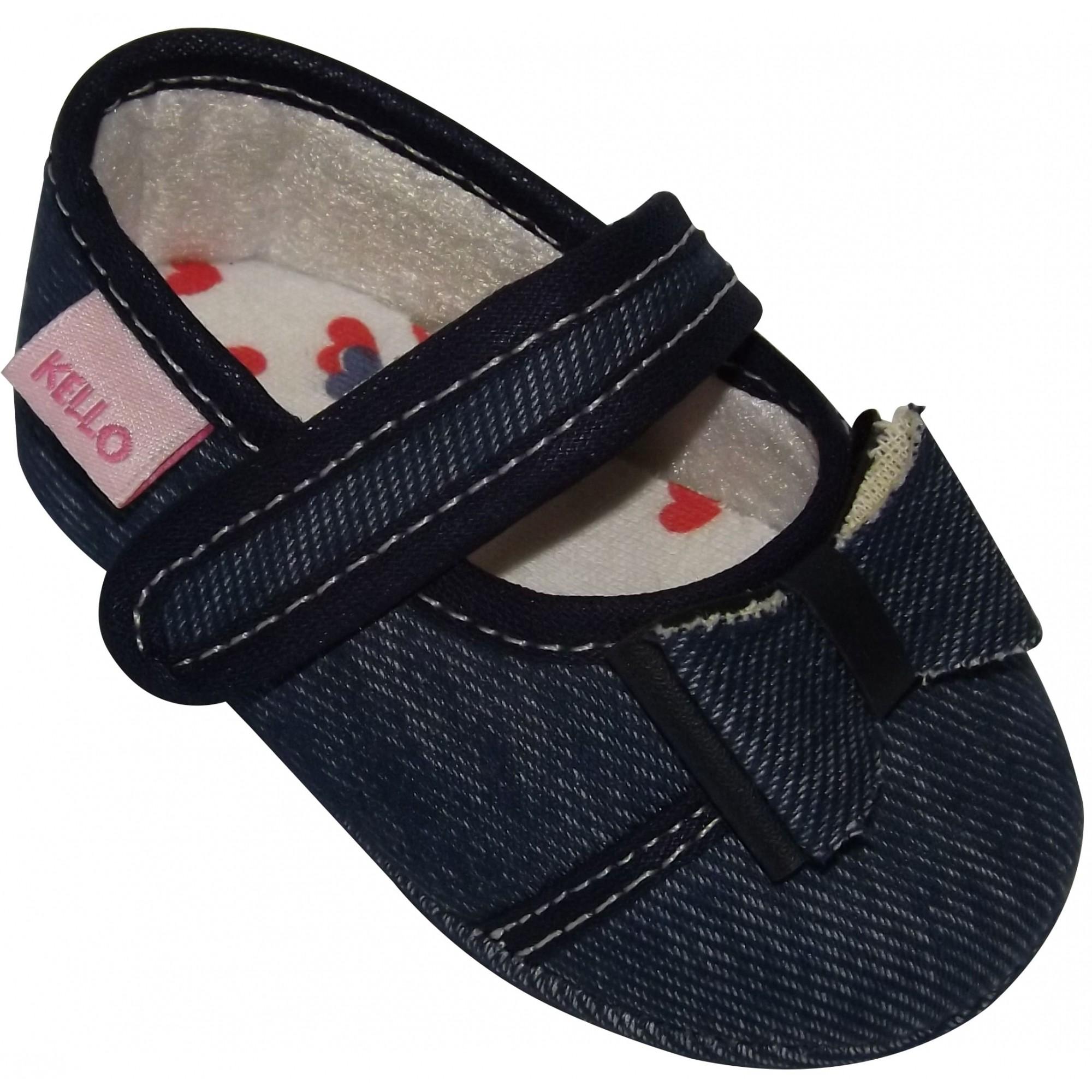 Sapatilha Jeans Infantil Menina com Laço e Velcro Azul Escuro