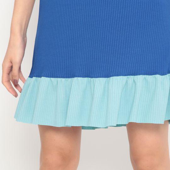 Vestido Adulto Evasê Azul Royal e Azul Claro
