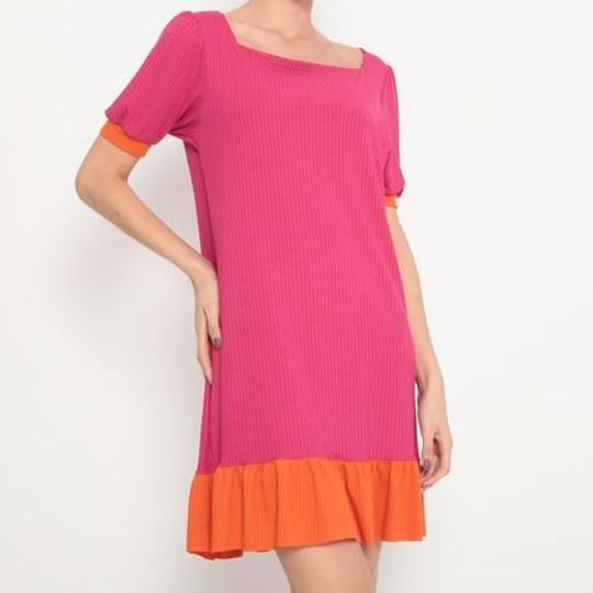 Vestido Adulto Evasê Pink e Laranja