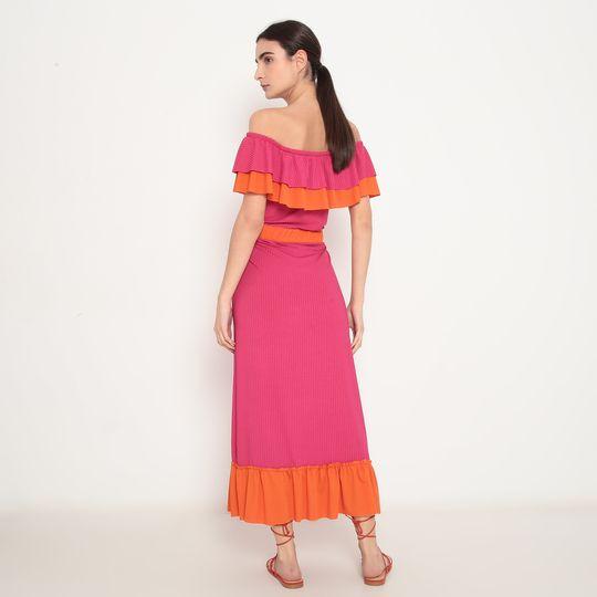 Vestido Adulto Longo Ciganinha Pink e Laranja