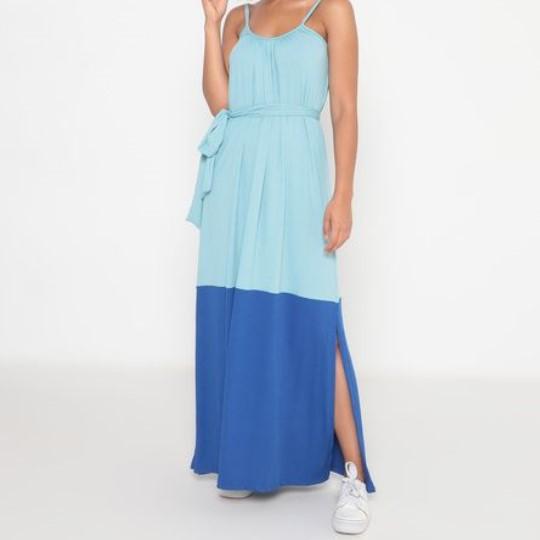 Vestido Adulto Malha Canelada Alcinha Bicolor Azul Claro