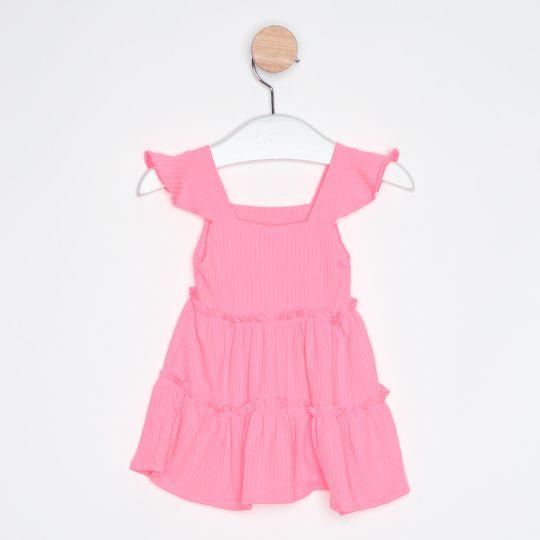 Vestido Bebê Babados Rosa