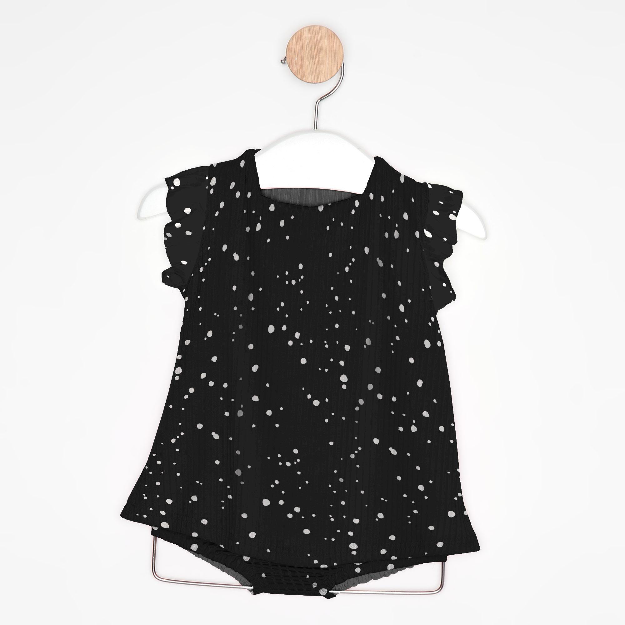 Vestido Bebê Chuvisco Preto + Tapa Fralda