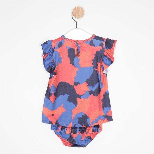 Vestido Bebê Evasê Abstrato Colorido