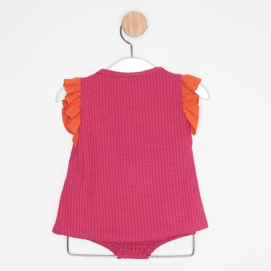 Vestido Bebê Evasê Pink e Laranja