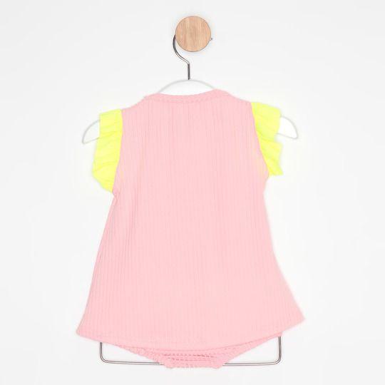 Vestido Bebê Evasê Rosa Claro e Amarelo