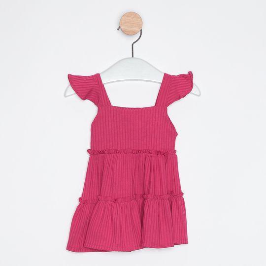 Vestido Bebê Infantil Babados Pink