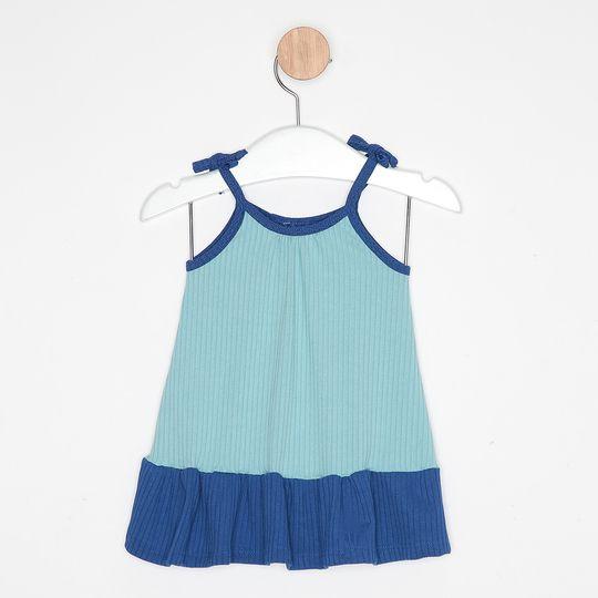 Vestido Bebê Malha Canelada Alcinha Bicolor Azul Claro