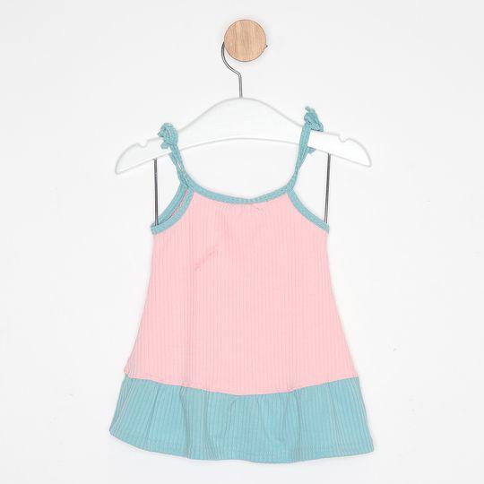 Vestido Bebê Malha Canelada Alcinha Bicolor Rosa Bebê