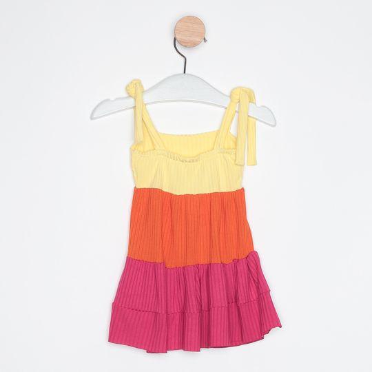 Vestido Bebê Três Marias Alcinhas Ajustáveis Amarelo Claro