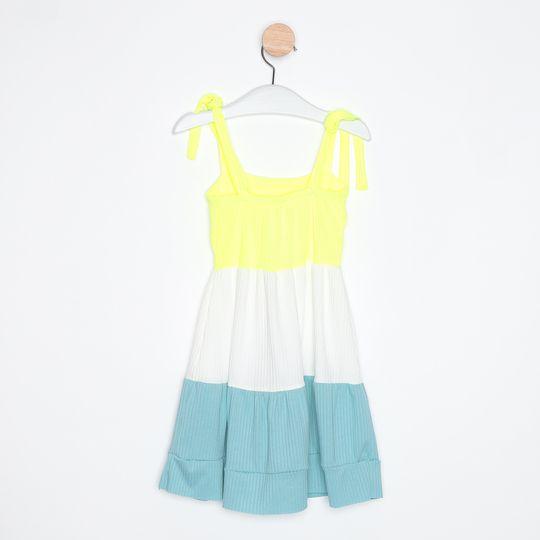Vestido Bebê Três Marias Alcinhas Ajustáveis Amarelo Claro e Branco