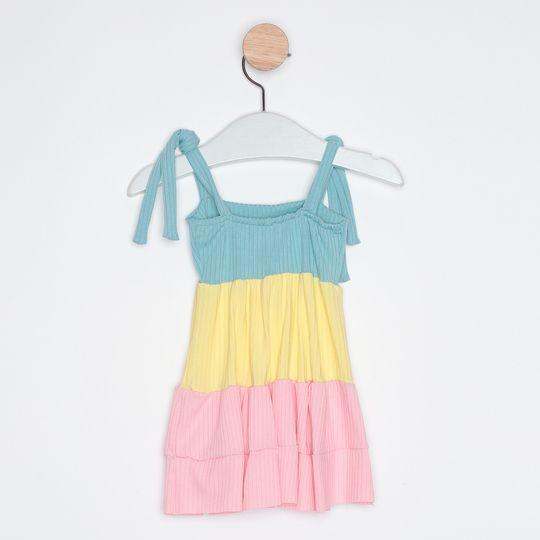 Vestido Bebê Três Marias Alcinhas Ajustáveis Azul Claro