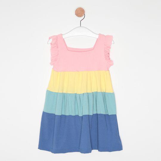 Vestido Curto Infantil Três Marias Babados Multicor