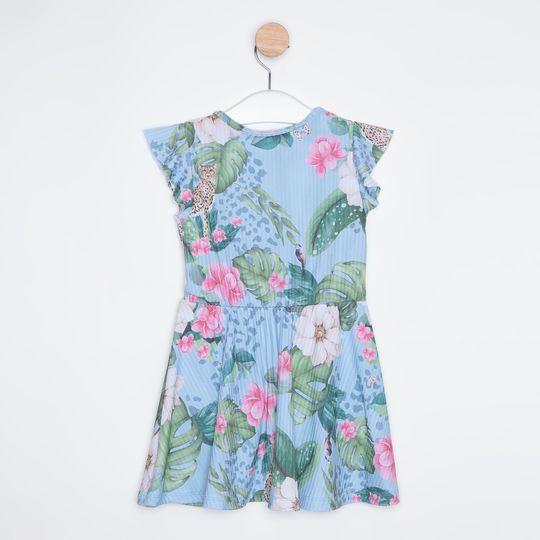Vestido Infantil Acinturado Floral Azul Claro