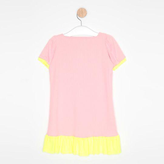 Vestido Infantil Evasê Rosa Claro e Amarelo