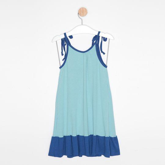 Vestido Infantil Malha Canelada Alcinha Bicolor Azul Claro