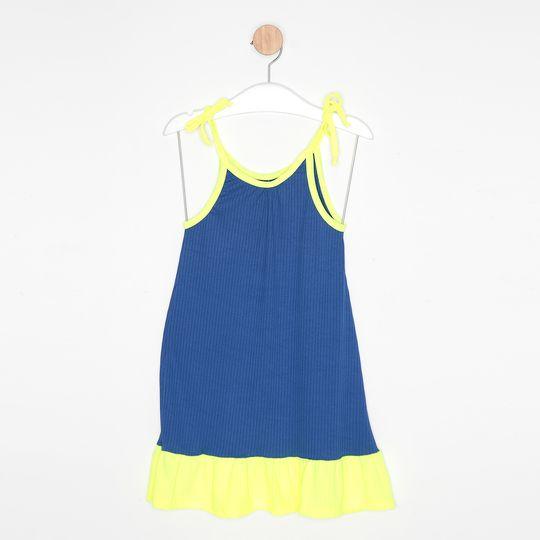 Vestido Infantil Malha Canelada Alcinha Bicolor Azul Royal