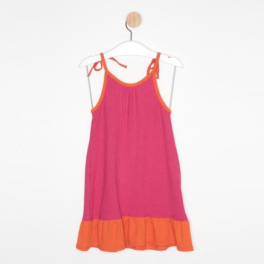 Vestido Infantil Malha Canelada Alcinha Bicolor Pink