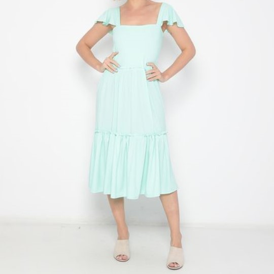 Vestido Midi Adulto Babados Azul Claro