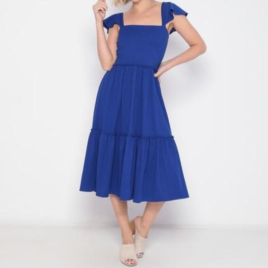 Vestido Midi Adulto Babados Azul Royal