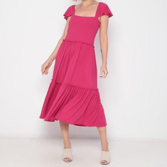 Vestido Midi Adulto Babados Pink