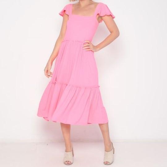Vestido Midi Adulto Babados Rosa