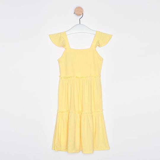 Vestido Midi Infantil Babados Amarelo Claro